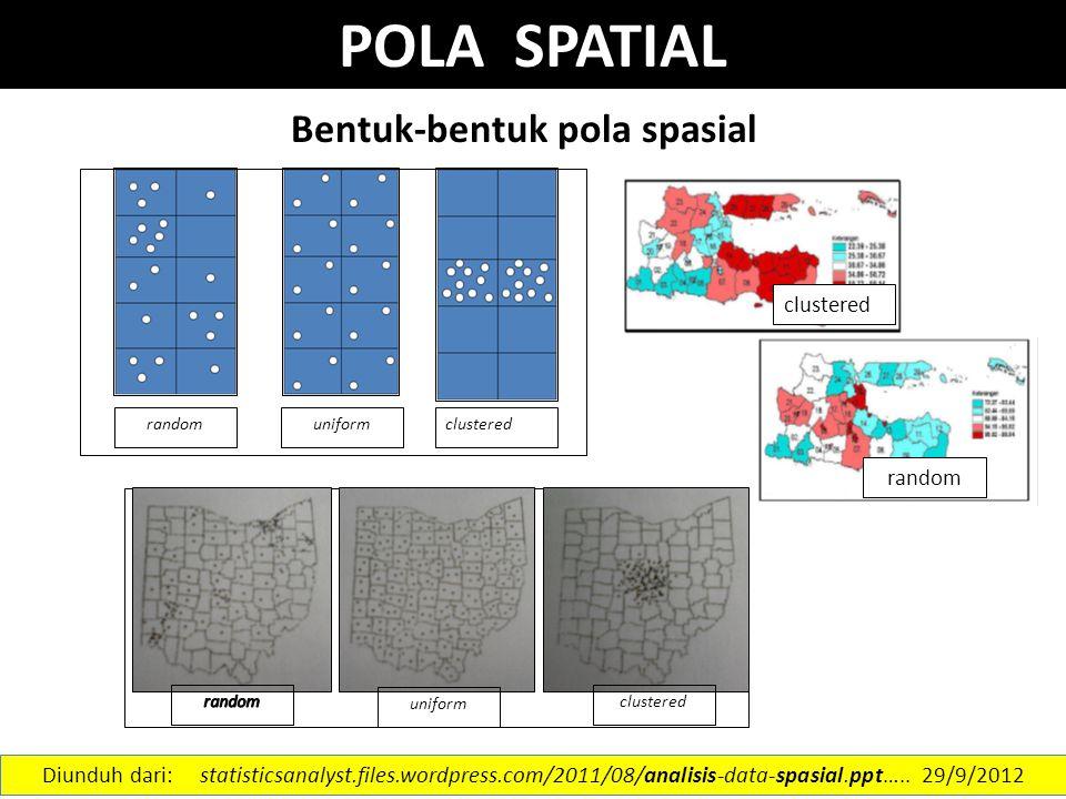 Bentuk-bentuk pola spasial uniform clustered random uniform clustered random Diunduh dari: statisticsanalyst.files.wordpress.com/2011/08/analisis-data