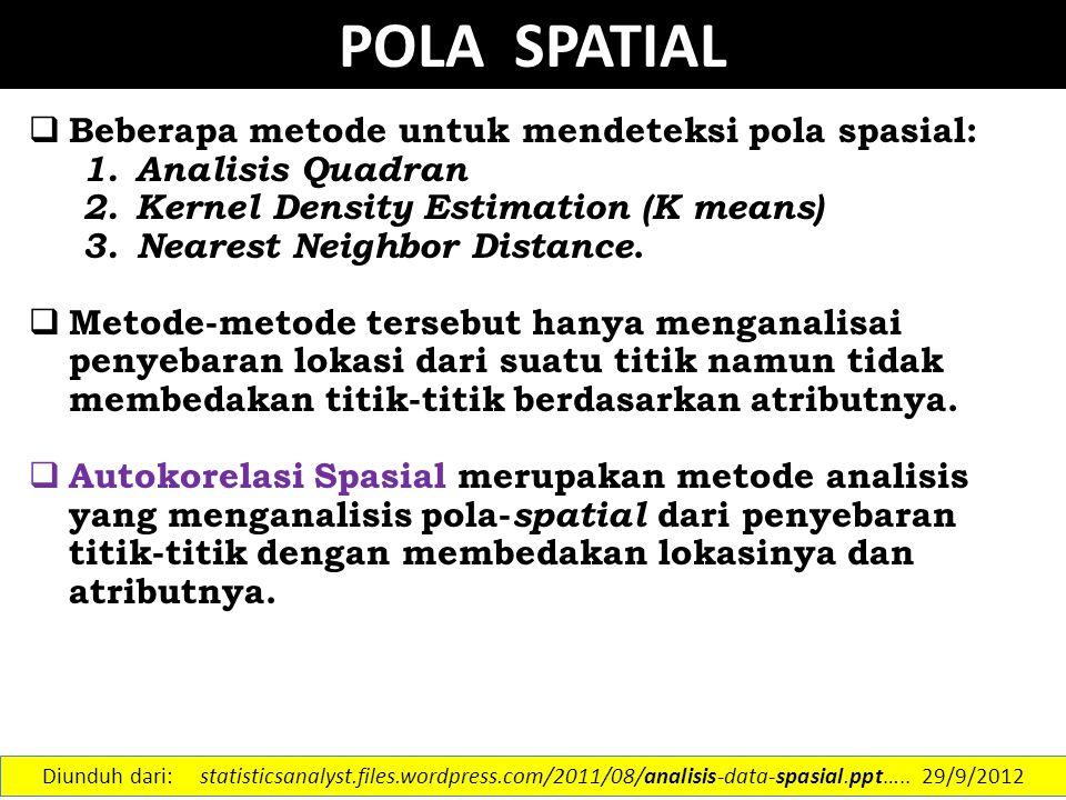 Autokorelasi Spasial  Autokorelasi spasial didefinisikan sebagai penilaian korelasi antar pengamatan/lokasi pada suatu variabel  Jika pengamatan x 1, x 2, …, x n menunjukkan saling ketergantungan terhadap ruang, maka data tersebut dikatakan terautokorelasi secara spasial  Beberapa metode (Lee&Wong, 2001) :  Moran's I  Geary's C  LISA Diunduh dari: statisticsanalyst.files.wordpress.com/2011/08/analisis-data-spasial.ppt…..