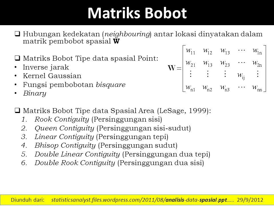 Matriks Bobot  Hubungan kedekatan ( neighbouring ) antar lokasi dinyatakan dalam matrik pembobot spasial W  Matriks Bobot Tipe data spasial Point: I