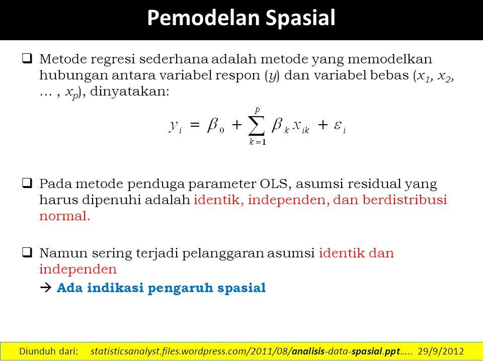  Berdasarkan Tipe Data spasial Titik: a.