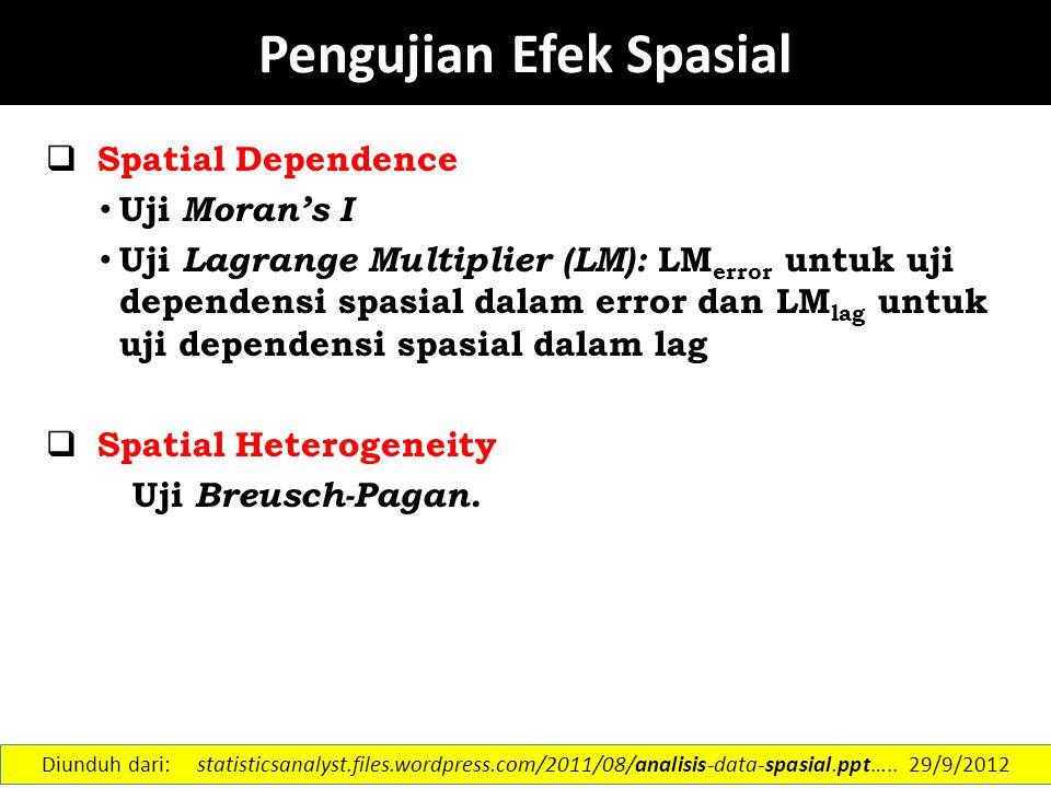 Geographically Weighted Regression (GWR) Sumber: Rokhana Dwi Bekti Diunduh dari: statisticsanalyst.files.wordpress.com/2011/08/analisis-data-spasial.ppt…..