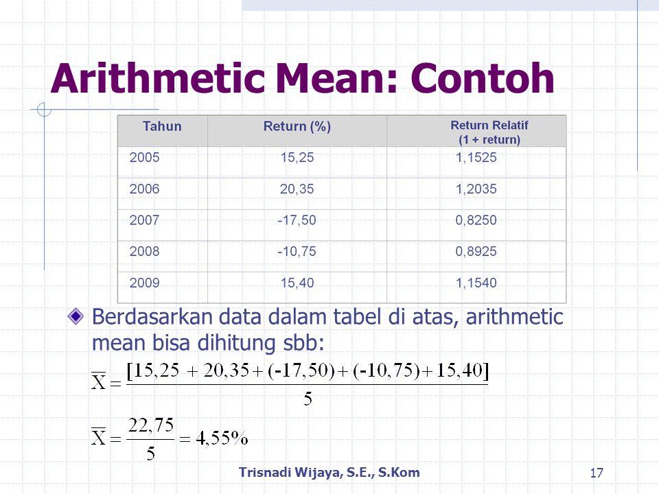 Arithmetic Mean: Contoh Berdasarkan data dalam tabel di atas, arithmetic mean bisa dihitung sbb: Trisnadi Wijaya, S.E., S.Kom 17