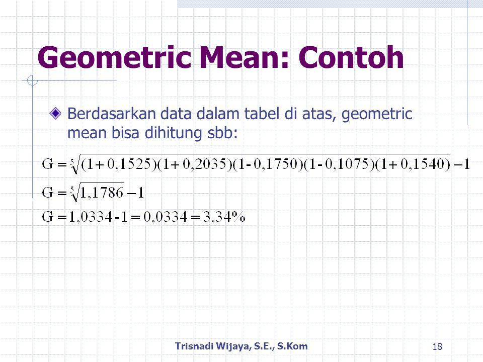 Geometric Mean: Contoh Berdasarkan data dalam tabel di atas, geometric mean bisa dihitung sbb: Trisnadi Wijaya, S.E., S.Kom 18