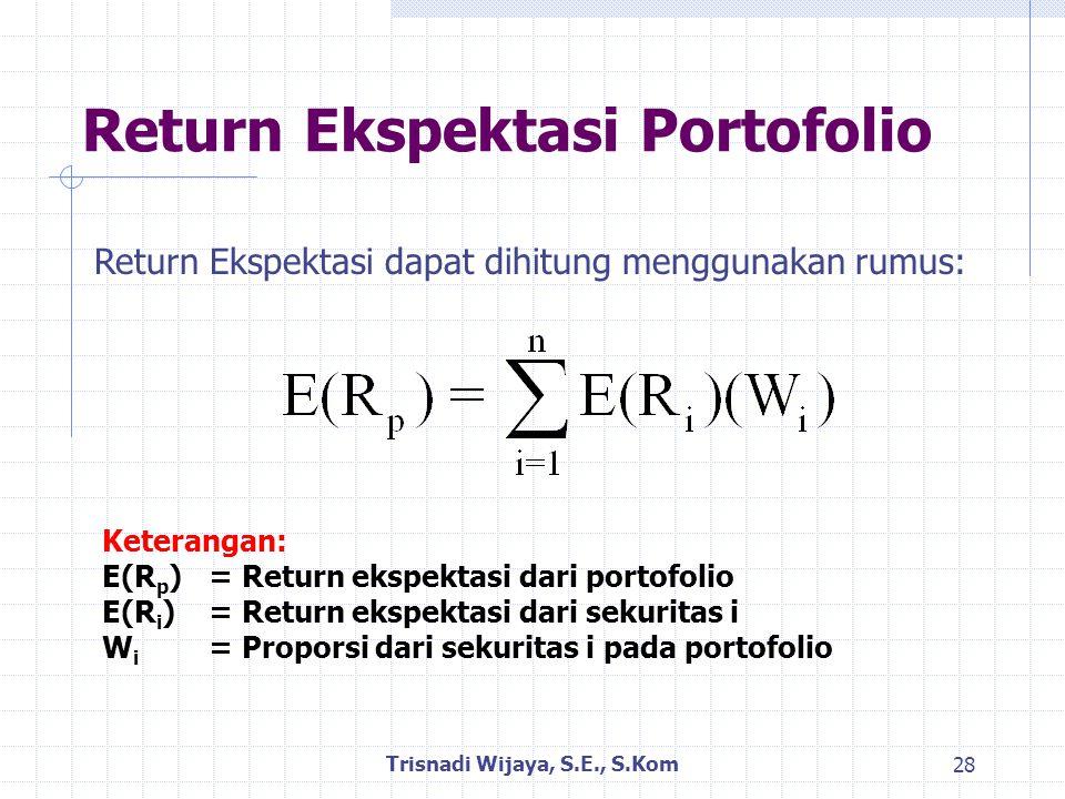 Return Ekspektasi Portofolio Trisnadi Wijaya, S.E., S.Kom 28 Return Ekspektasi dapat dihitung menggunakan rumus: Keterangan: E(R p )= Return ekspektasi dari portofolio E(R i )= Return ekspektasi dari sekuritas i W i = Proporsi dari sekuritas i pada portofolio