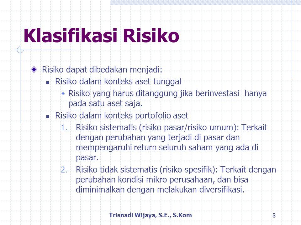 Risiko Aset Tunggal Risiko aset tunggal bisa dilihat dari besarnya penyebaran distribusi probabilitas return.