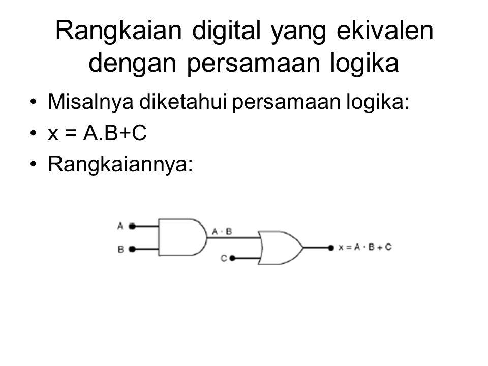 Rangkaian digital yang ekivalen dengan persamaan logika Misalnya diketahui persamaan logika: x = A.B+C Rangkaiannya: