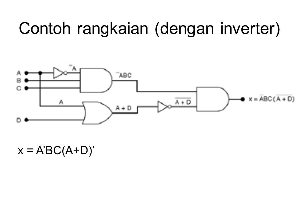 Latihan 1.Implementasikan rangkaian z=A'B'C menggunakan sebuah gerbang NOR dan sebuah inverter.