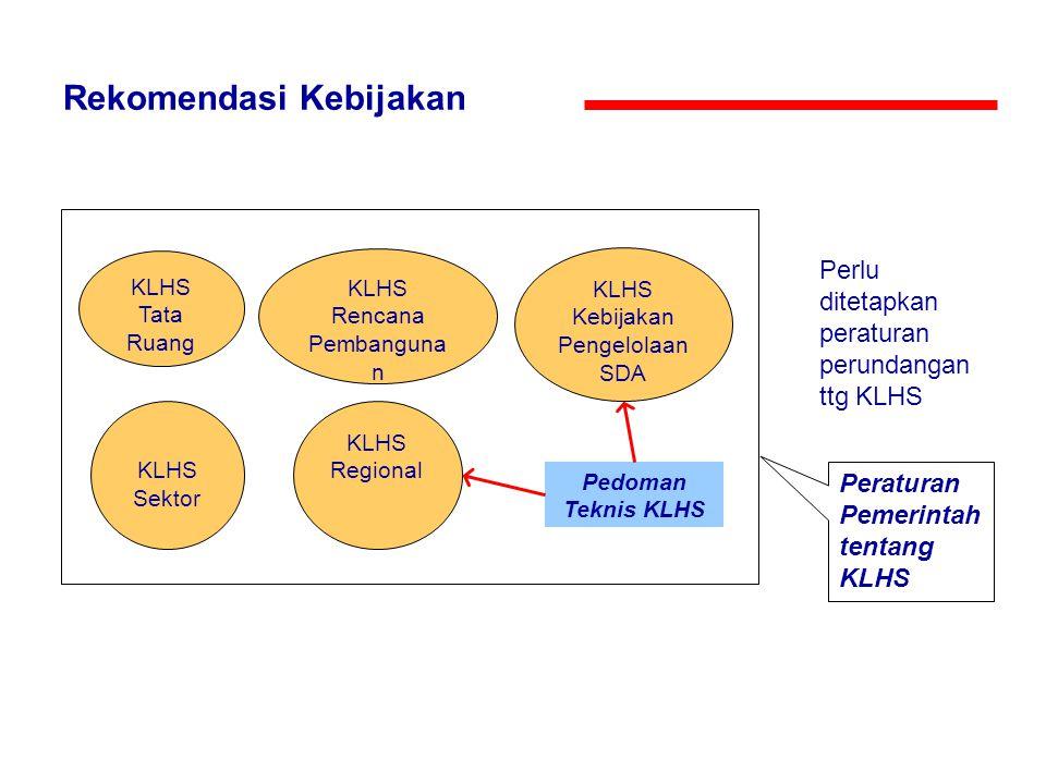 Rekomendasi Kebijakan KLHS Tata Ruang KLHS Rencana Pembanguna n KLHS Kebijakan Pengelolaan SDA KLHS Sektor Peraturan Pemerintah tentang KLHS KLHS Regi