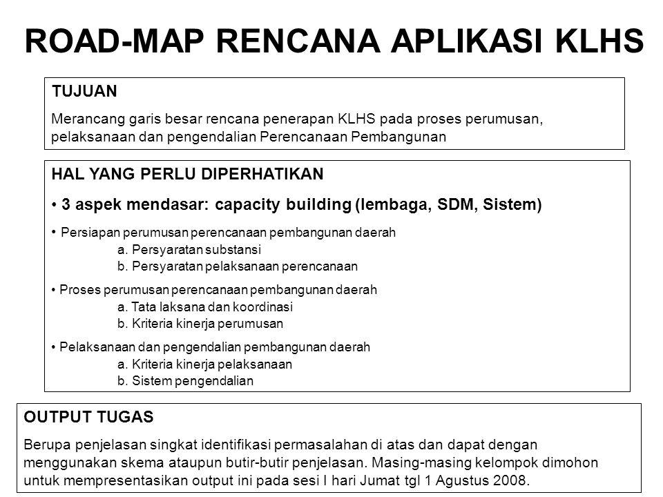 ROAD-MAP RENCANA APLIKASI KLHS TUJUAN Merancang garis besar rencana penerapan KLHS pada proses perumusan, pelaksanaan dan pengendalian Perencanaan Pem