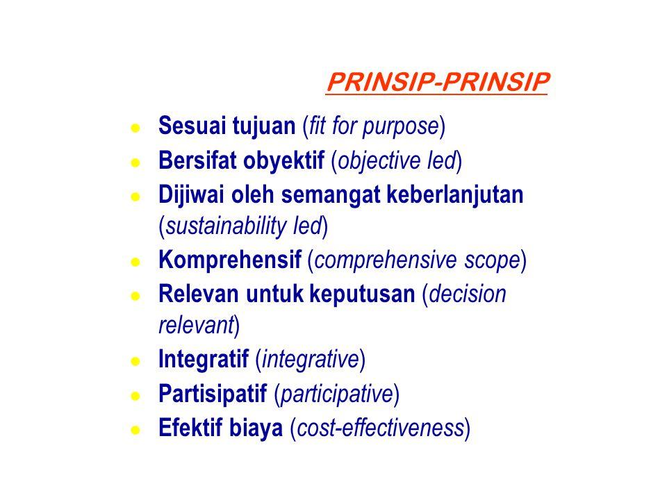 PRINSIP-PRINSIP ● Sesuai tujuan ( fit for purpose ) ● Bersifat obyektif ( objective led ) ● Dijiwai oleh semangat keberlanjutan ( sustainability led )