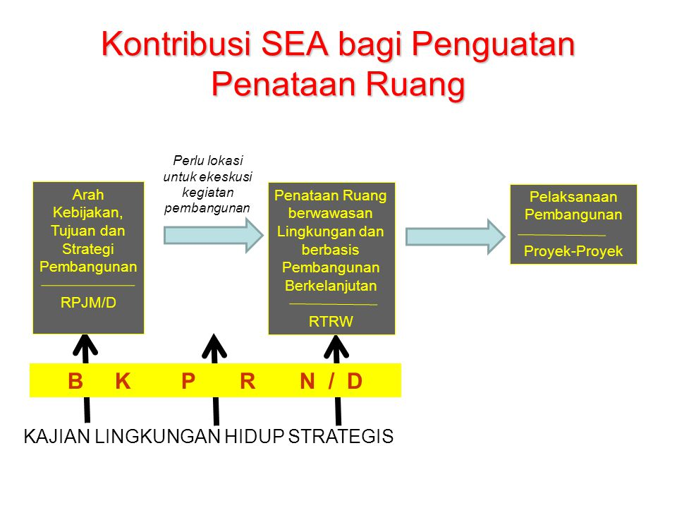 Kontribusi SEA bagi Penguatan Penataan Ruang Arah Kebijakan, Tujuan dan Strategi Pembangunan RPJM/D Penataan Ruang berwawasan Lingkungan dan berbasis