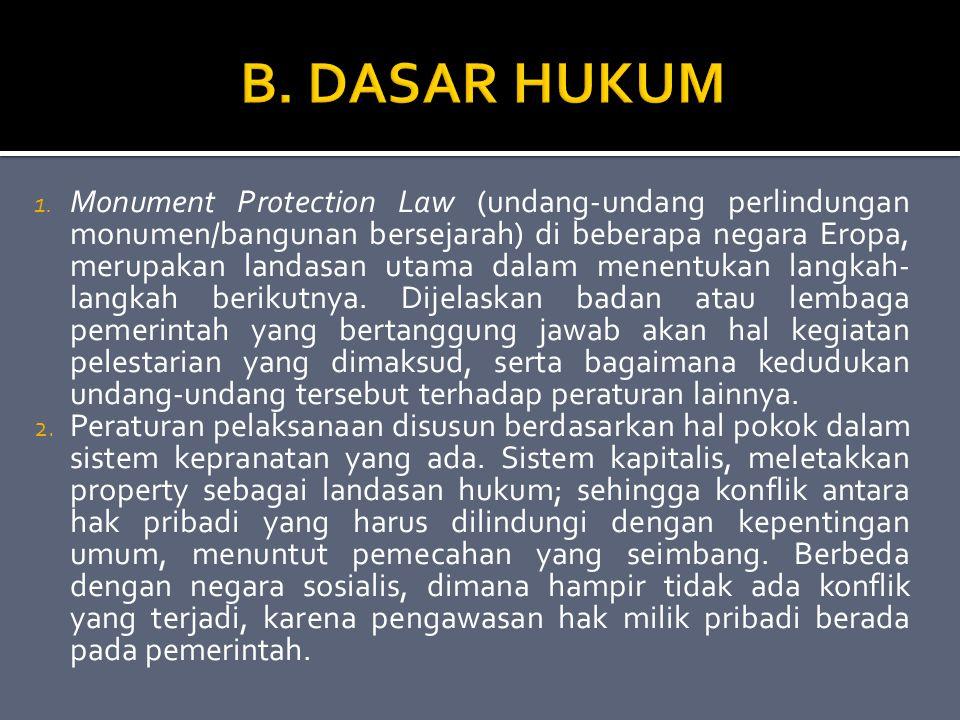 1. Monument Protection Law (undang-undang perlindungan monumen/bangunan bersejarah) di beberapa negara Eropa, merupakan landasan utama dalam menentuka