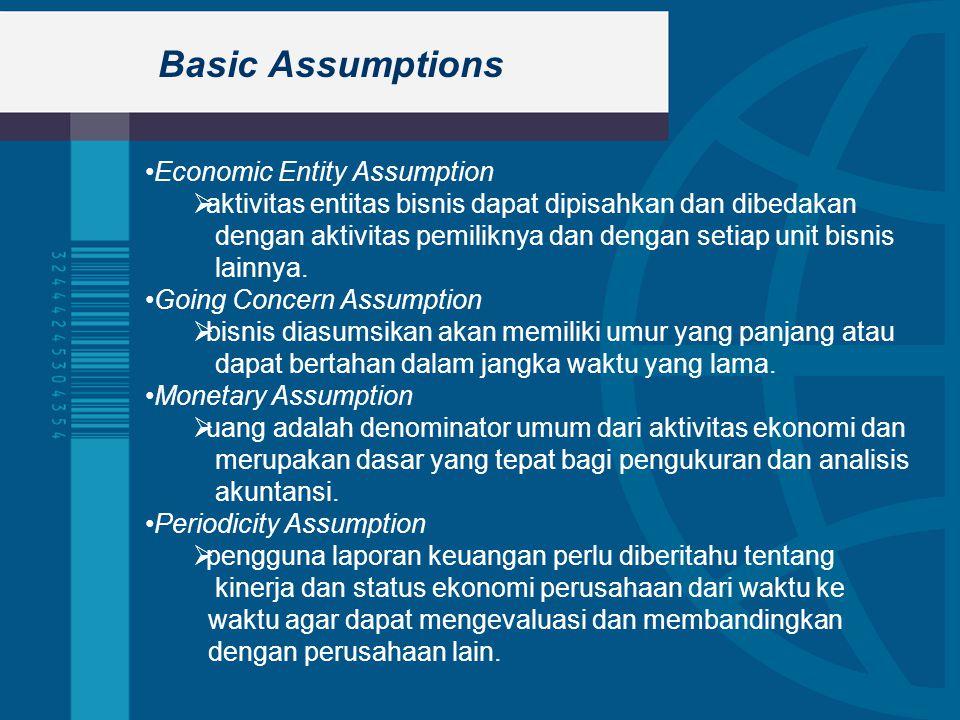 Basic Assumptions Economic Entity Assumption  aktivitas entitas bisnis dapat dipisahkan dan dibedakan dengan aktivitas pemiliknya dan dengan setiap unit bisnis lainnya.