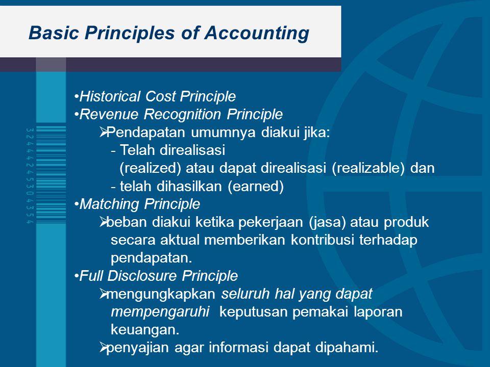 Basic Principles of Accounting Historical Cost Principle Revenue Recognition Principle  Pendapatan umumnya diakui jika: - Telah direalisasi (realized) atau dapat direalisasi (realizable) dan - telah dihasilkan (earned) Matching Principle  beban diakui ketika pekerjaan (jasa) atau produk secara aktual memberikan kontribusi terhadap pendapatan.