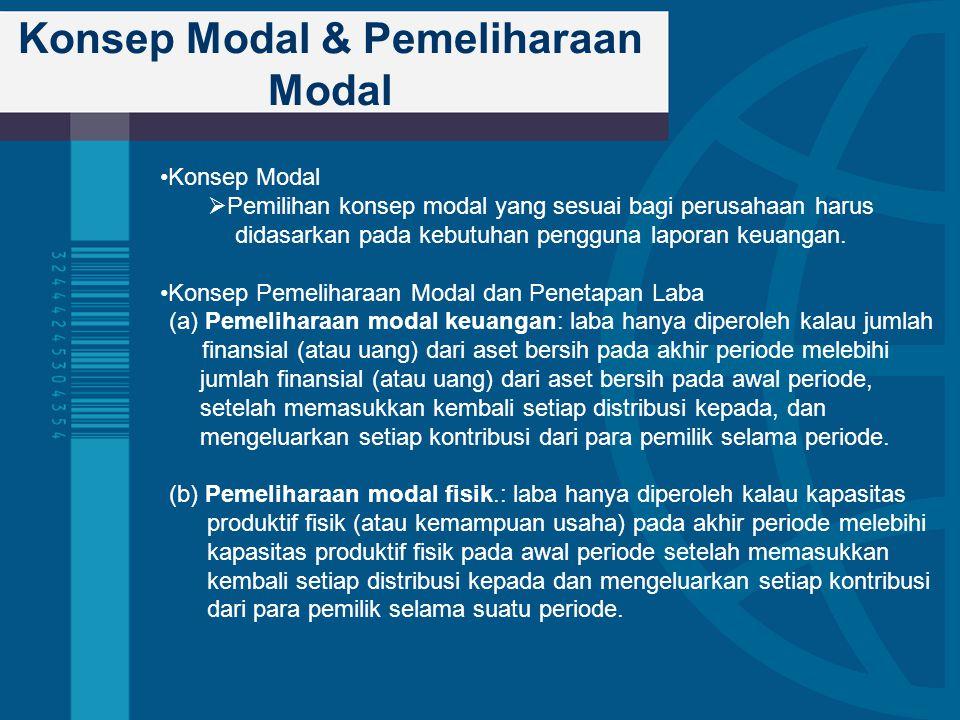 Konsep Modal & Pemeliharaan Modal Konsep Modal  Pemilihan konsep modal yang sesuai bagi perusahaan harus didasarkan pada kebutuhan pengguna laporan k