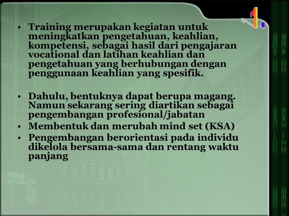 Training merupakan kegiatan untuk meningkatkan pengetahuan, keahlian, kompetensi, sebagai hasil dari pengajaran vocational dan latihan keahlian dan pengetahuan yang berhubungan dengan penggunaan keahlian yang spesifik.