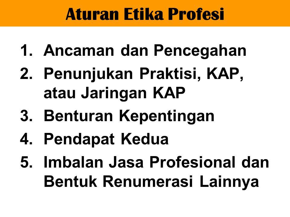1.Ancaman dan Pencegahan 2.Penunjukan Praktisi, KAP, atau Jaringan KAP 3.Benturan Kepentingan 4.Pendapat Kedua 5.Imbalan Jasa Profesional dan Bentuk Renumerasi Lainnya Aturan Etika Profesi