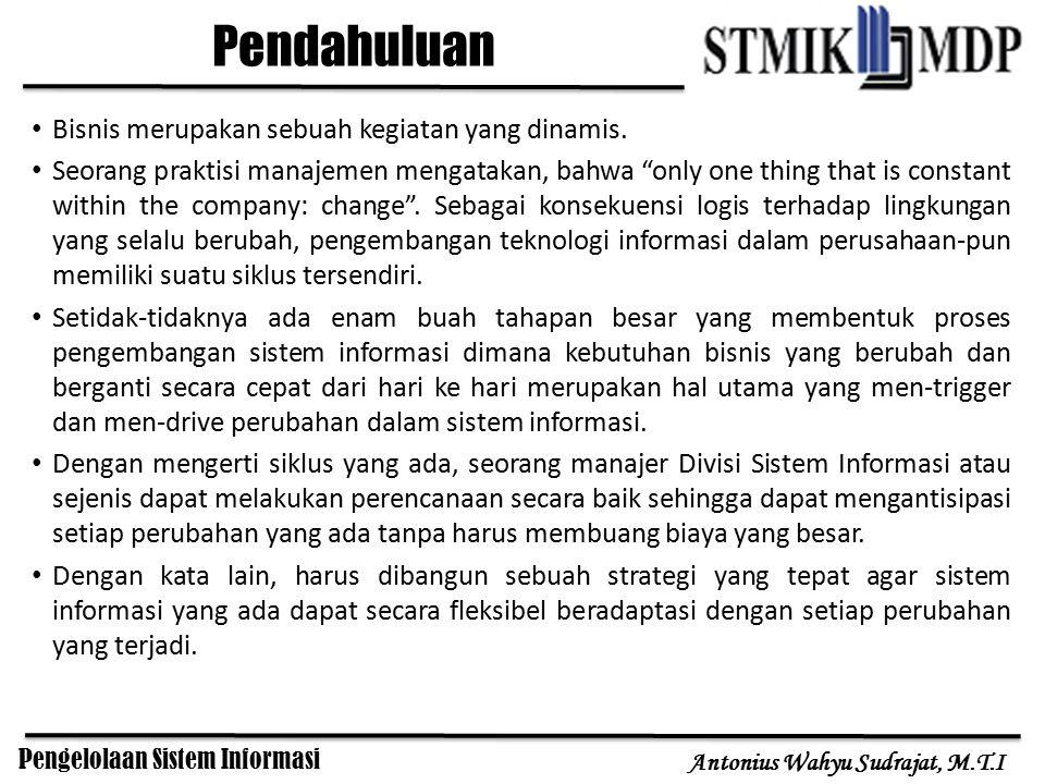 Pengelolaan Sistem Informasi Antonius Wahyu Sudrajat, M.T.I Bisnis merupakan sebuah kegiatan yang dinamis. Seorang praktisi manajemen mengatakan, bahw