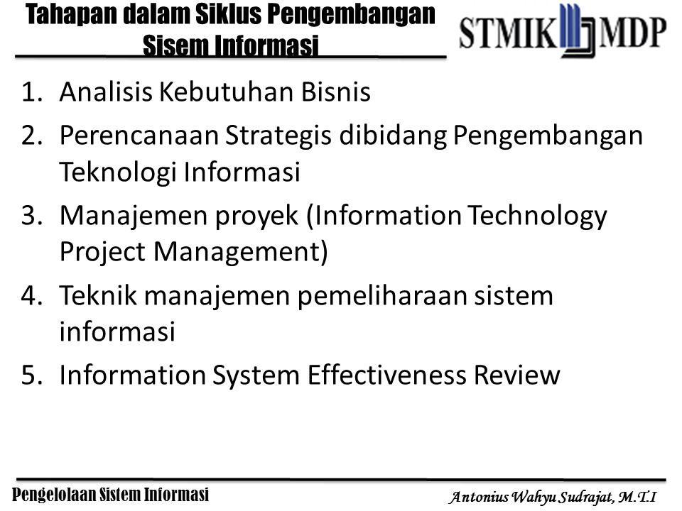 Pengelolaan Sistem Informasi Antonius Wahyu Sudrajat, M.T.I 1.Analisis Kebutuhan Bisnis 2.Perencanaan Strategis dibidang Pengembangan Teknologi Inform