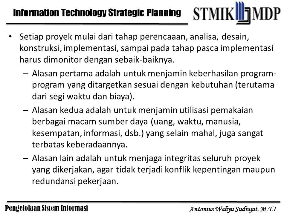 Pengelolaan Sistem Informasi Antonius Wahyu Sudrajat, M.T.I Setiap proyek mulai dari tahap perencaaan, analisa, desain, konstruksi, implementasi, samp