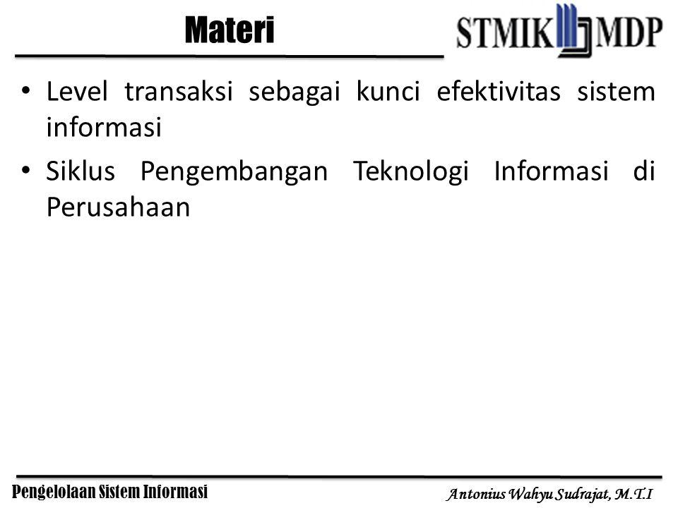 Pengelolaan Sistem Informasi Antonius Wahyu Sudrajat, M.T.I Level transaksi sebagai kunci efektivitas sistem informasi Siklus Pengembangan Teknologi I