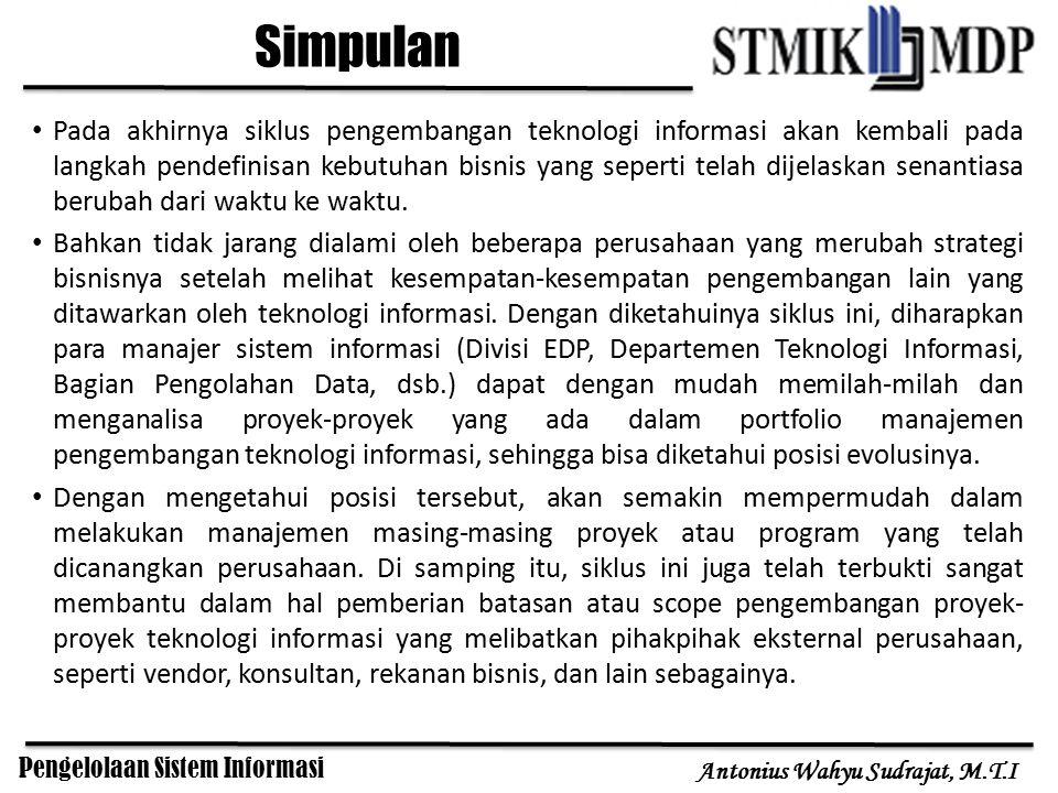 Pengelolaan Sistem Informasi Antonius Wahyu Sudrajat, M.T.I Pada akhirnya siklus pengembangan teknologi informasi akan kembali pada langkah pendefinis