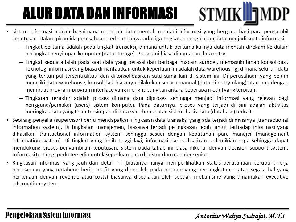 Pengelolaan Sistem Informasi Antonius Wahyu Sudrajat, M.T.I Pada proses alir data menjadi informasi terlihat bahwa level transaksi merupakan lapisan tempat data pertama kali masuk ke dalam sistem (sumber data).