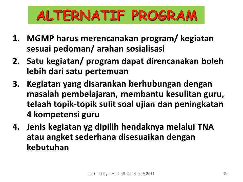 ALTERNATIF PROGRAM 1.MGMP harus merencanakan program/ kegiatan sesuai pedoman/ arahan sosialisasi 2.Satu kegiatan/ program dapat direncanakan boleh le