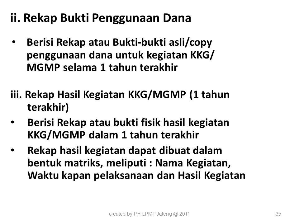 ii. Rekap Bukti Penggunaan Dana Berisi Rekap atau Bukti-bukti asli/copy penggunaan dana untuk kegiatan KKG/ MGMP selama 1 tahun terakhir iii. Rekap Ha