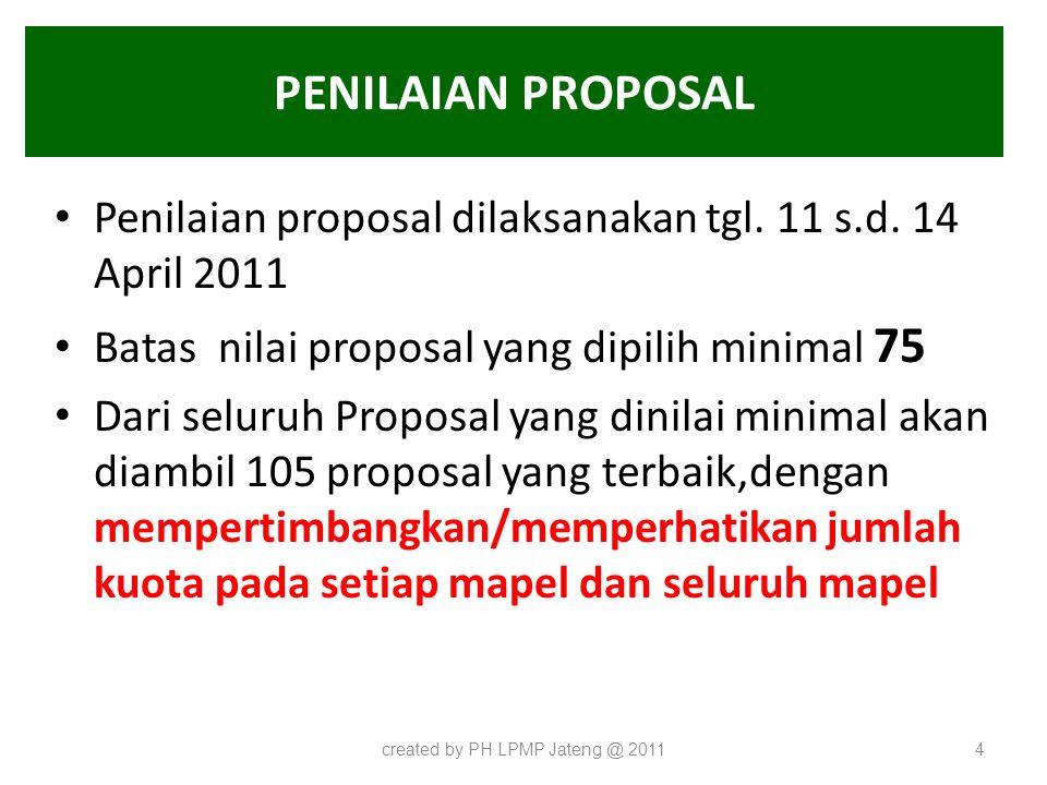 PENILAIAN PROPOSAL Penilaian proposal dilaksanakan tgl. 11 s.d. 14 April 2011 Batas nilai proposal yang dipilih minimal 75 Dari seluruh Proposal yang