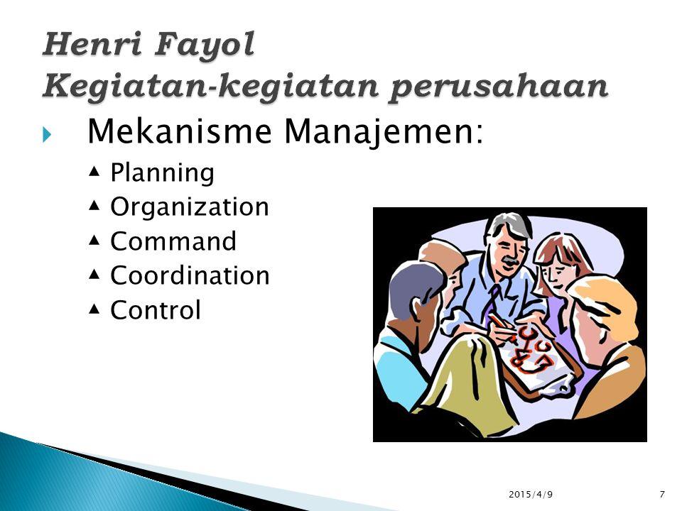  Mekanisme Manajemen: ▲ Planning ▲ Organization ▲ Command ▲ Coordination ▲ Control 2015/4/97