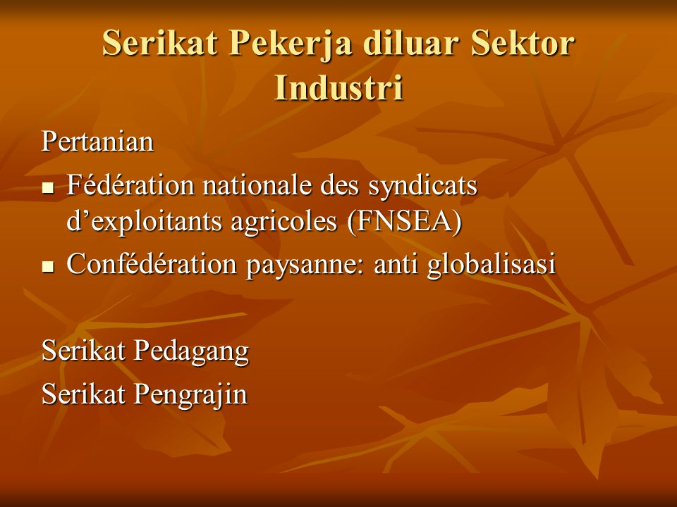 Serikat Pekerja diluar Sektor Industri Pertanian Fédération nationale des syndicats d'exploitants agricoles (FNSEA) Fédération nationale des syndicats