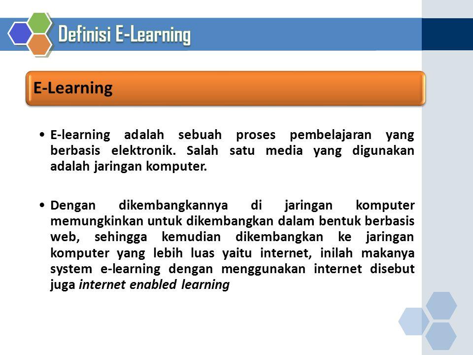 E-learning adalah sebuah proses pembelajaran yang berbasis elektronik. Salah satu media yang digunakan adalah jaringan komputer. Dengan dikembangkanny