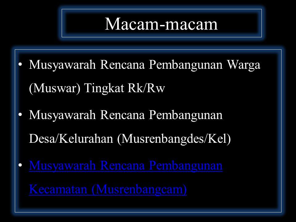 Macam-macam Musyawarah Rencana Pembangunan Warga (Muswar) Tingkat Rk/Rw Musyawarah Rencana Pembangunan Desa/Kelurahan (Musrenbangdes/Kel) Musyawarah Rencana Pembangunan Kecamatan (Musrenbangcam) Musyawarah Rencana Pembangunan Kecamatan (Musrenbangcam)