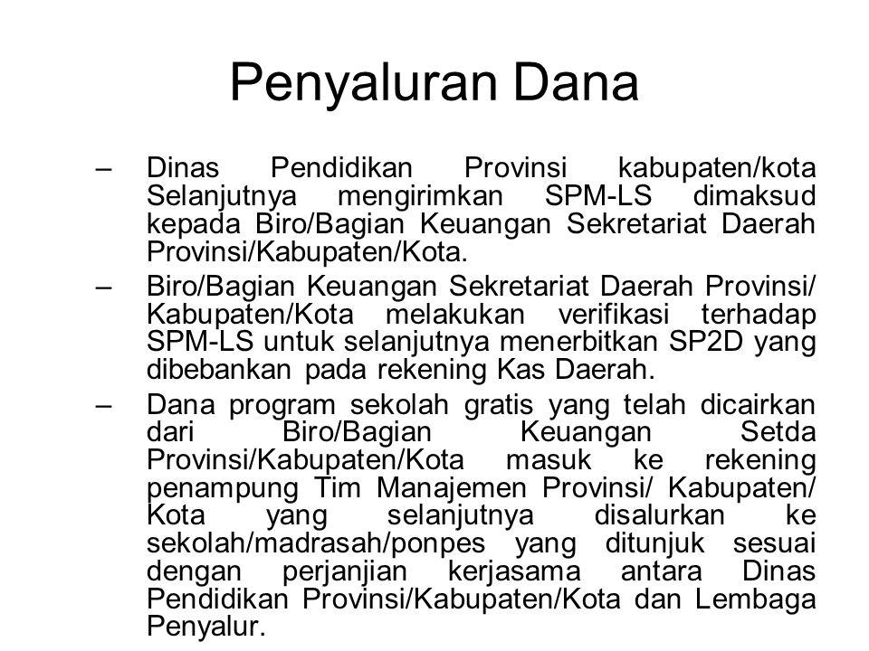Penyaluran Dana –Dinas Pendidikan Provinsi kabupaten/kota Selanjutnya mengirimkan SPM-LS dimaksud kepada Biro/Bagian Keuangan Sekretariat Daerah Provinsi/Kabupaten/Kota.