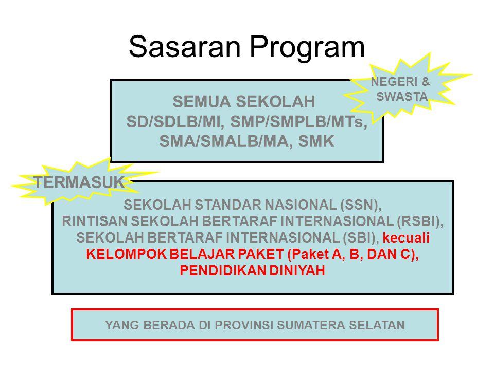 SEKOLAH STANDAR NASIONAL (SSN), RINTISAN SEKOLAH BERTARAF INTERNASIONAL (RSBI), SEKOLAH BERTARAF INTERNASIONAL (SBI), kecuali KELOMPOK BELAJAR PAKET (Paket A, B, DAN C), PENDIDIKAN DINIYAH Sasaran Program SEMUA SEKOLAH SD/SDLB/MI, SMP/SMPLB/MTs, SMA/SMALB/MA, SMK TERMASUK NEGERI & SWASTA YANG BERADA DI PROVINSI SUMATERA SELATAN