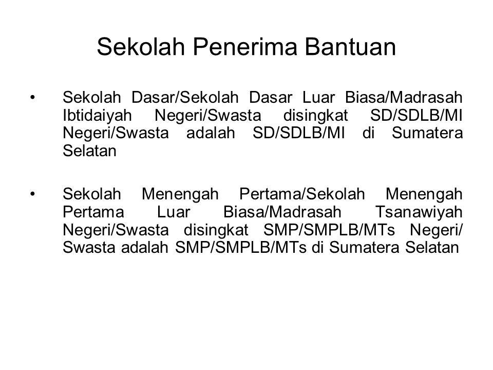 Sekolah Penerima Bantuan Sekolah Dasar/Sekolah Dasar Luar Biasa/Madrasah Ibtidaiyah Negeri/Swasta disingkat SD/SDLB/MI Negeri/Swasta adalah SD/SDLB/MI di Sumatera Selatan Sekolah Menengah Pertama/Sekolah Menengah Pertama Luar Biasa/Madrasah Tsanawiyah Negeri/Swasta disingkat SMP/SMPLB/MTs Negeri/ Swasta adalah SMP/SMPLB/MTs di Sumatera Selatan