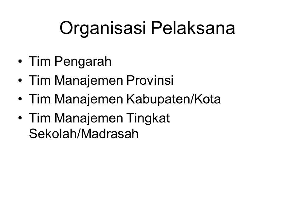 Organisasi Pelaksana Tim Pengarah Tim Manajemen Provinsi Tim Manajemen Kabupaten/Kota Tim Manajemen Tingkat Sekolah/Madrasah