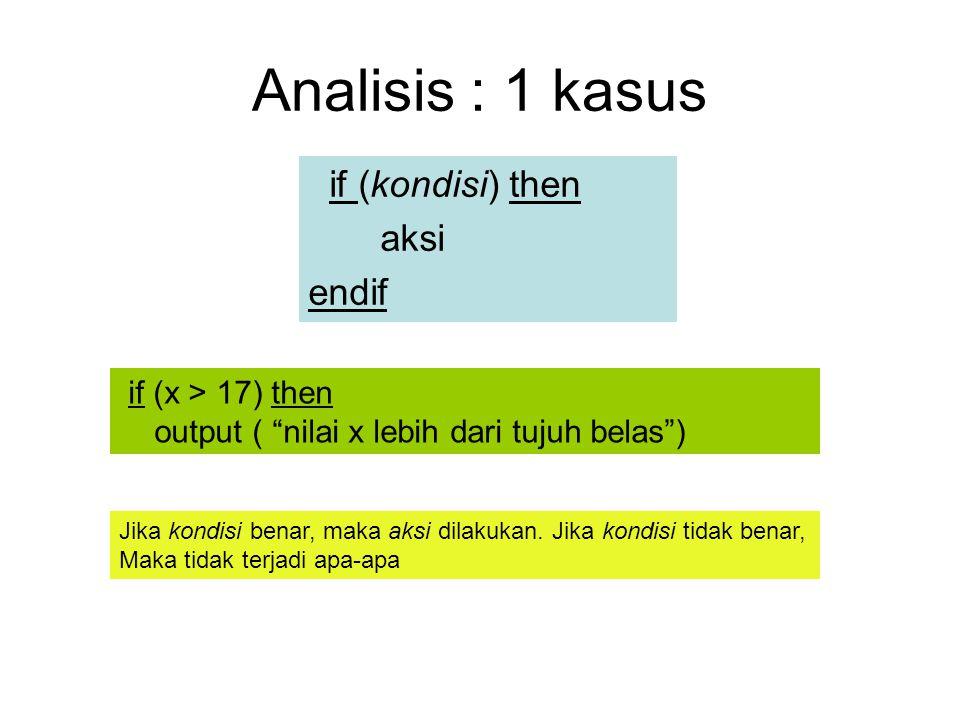 Analisis : 1 kasus if (kondisi) then aksi endif if (x > 17) then output ( nilai x lebih dari tujuh belas ) Jika kondisi benar, maka aksi dilakukan.