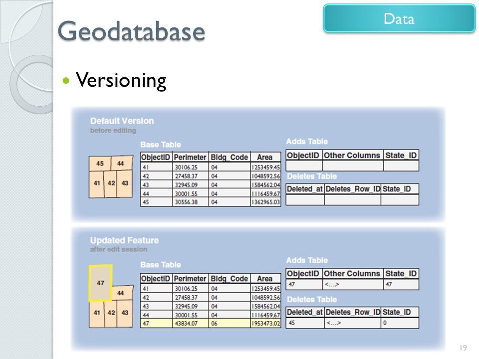 Geodatabase Versioning 19 Data