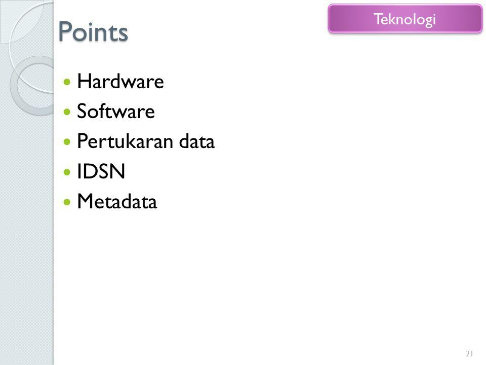 Points Hardware Software Pertukaran data IDSN Metadata 21 Teknologi