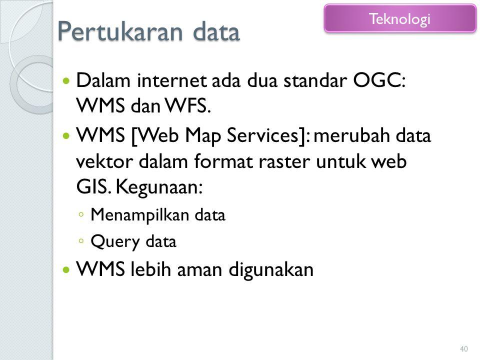 Pertukaran data Dalam internet ada dua standar OGC: WMS dan WFS. WMS [Web Map Services]: merubah data vektor dalam format raster untuk web GIS. Keguna