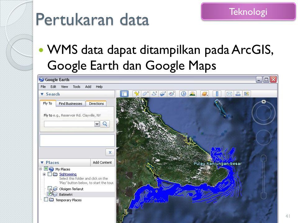 Pertukaran data WMS data dapat ditampilkan pada ArcGIS, Google Earth dan Google Maps 41 Teknologi