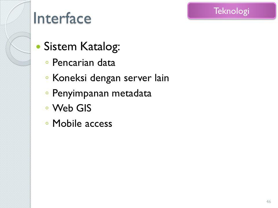 Interface Sistem Katalog: ◦ Pencarian data ◦ Koneksi dengan server lain ◦ Penyimpanan metadata ◦ Web GIS ◦ Mobile access 46 Teknologi