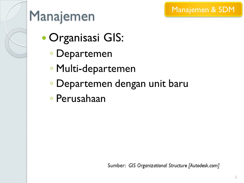 Manajemen 5 Organisasi GIS: ◦ Departemen ◦ Multi-departemen ◦ Departemen dengan unit baru ◦ Perusahaan Sumber: GIS Organizational Structure [Autodesk.