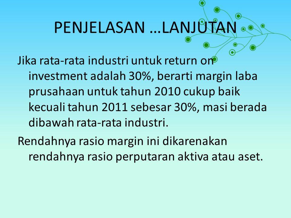 PENJELASAN …LANJUTAN Jika rata-rata industri untuk return on investment adalah 30%, berarti margin laba prusahaan untuk tahun 2010 cukup baik kecuali tahun 2011 sebesar 30%, masi berada dibawah rata-rata industri.
