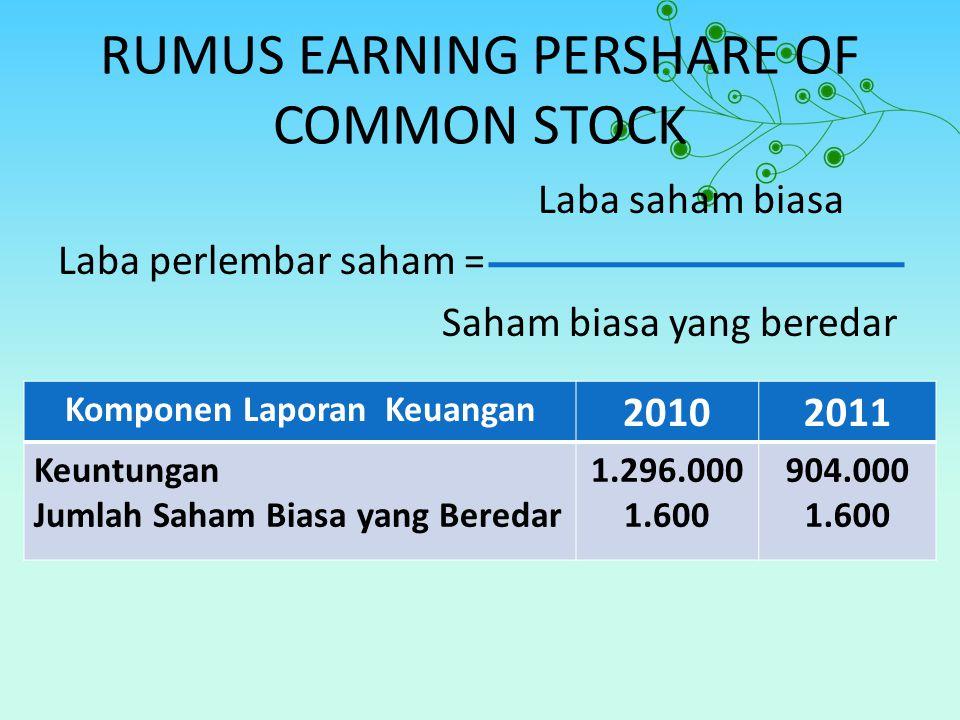 RUMUS EARNING PERSHARE OF COMMON STOCK Laba saham biasa Laba perlembar saham = Saham biasa yang beredar Komponen Laporan Keuangan 20102011 Keuntungan Jumlah Saham Biasa yang Beredar 1.296.000 1.600 904.000 1.600