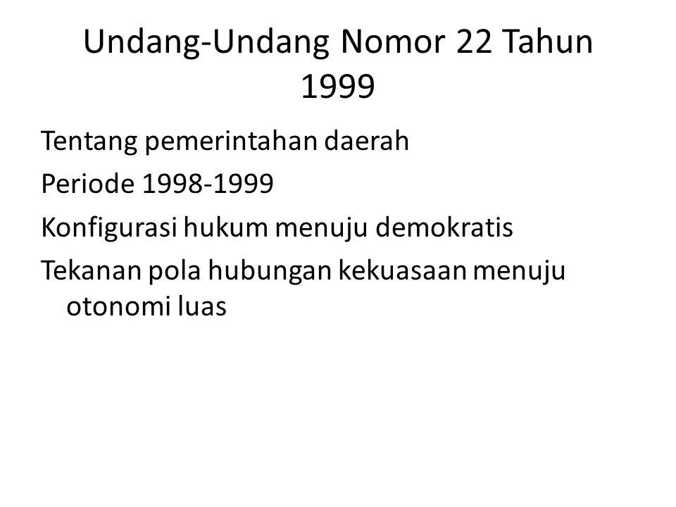 Undang-Undang Nomor 22 Tahun 1999 Tentang pemerintahan daerah Periode 1998-1999 Konfigurasi hukum menuju demokratis Tekanan pola hubungan kekuasaan menuju otonomi luas