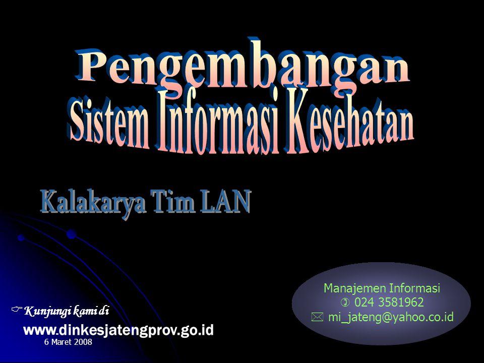Manajemen Informasi  024 3581962  mi_jateng@yahoo.co.id 6 Maret 2008  Kunjungi kami di WWW. dinkesjatengprov.go.id