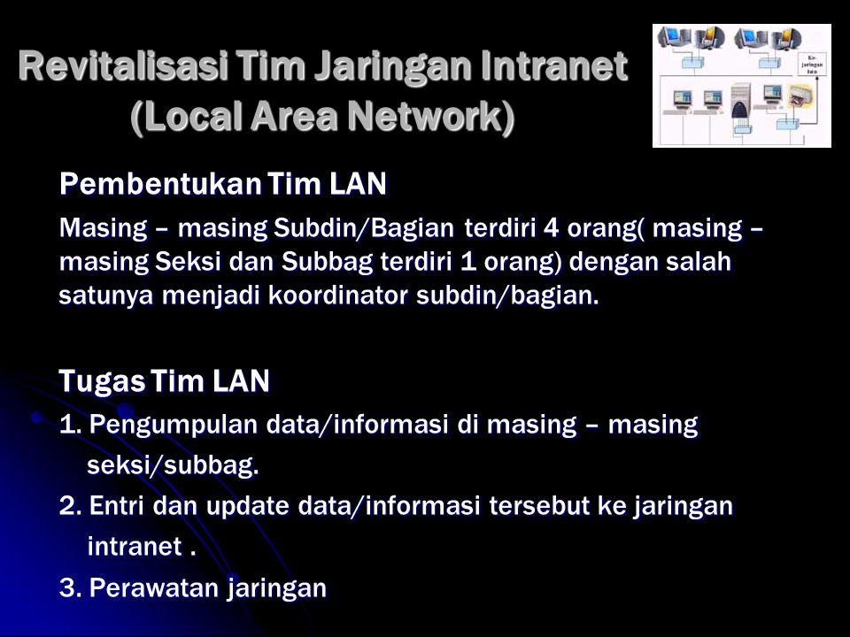 Revitalisasi Tim Jaringan Intranet (Local Area Network) Pembentukan Tim LAN Masing – masing Subdin/Bagian terdiri 4 orang( masing – masing Seksi dan Subbag terdiri 1 orang) dengan salah satunya menjadi koordinator subdin/bagian.